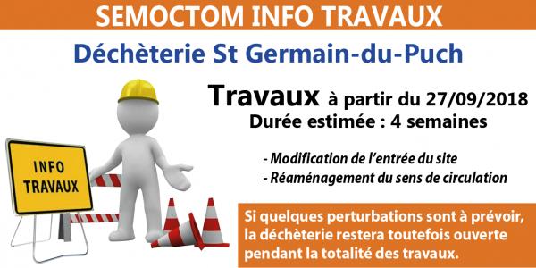 Déchèterie de St Germain-du-Puch, travaux à partir du 27 septembre et pendant 4 semaines