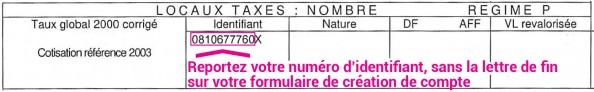 Numero identifiant verso taxe habitation