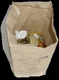 sac kraft avec déchets alimentaires